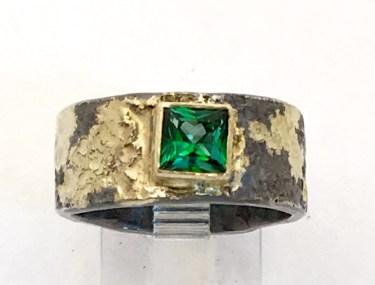 Rainforest Topaz ring, silver, 14k gold