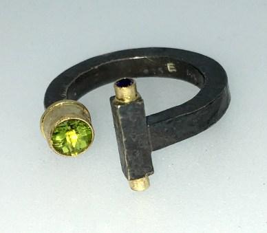 Torq ring, peridot, sapphires, silver, gold