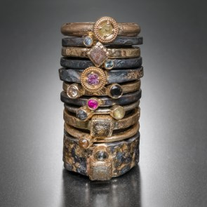 Stack rings, diamonds, rubies, sapphires, gold, silver