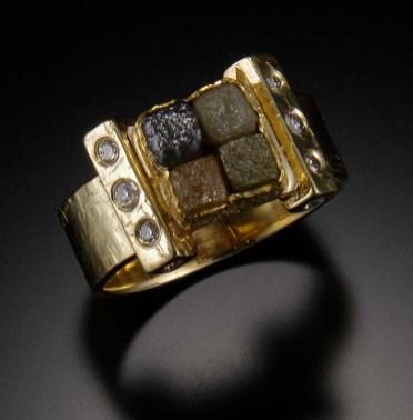 Diamond Cubes Ring, 22k gold, 18k gold, diamonds