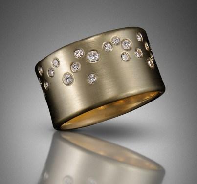 Starfall Ring, 33 diamonds, 14k gold