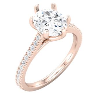 Engagement ring, 1.25 carat diamond rose gold, melee diamonds