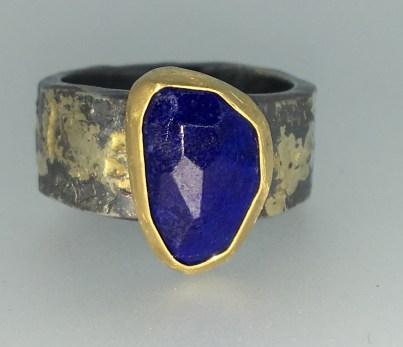 Lapis ring, 22k gold, silver, 14k gold