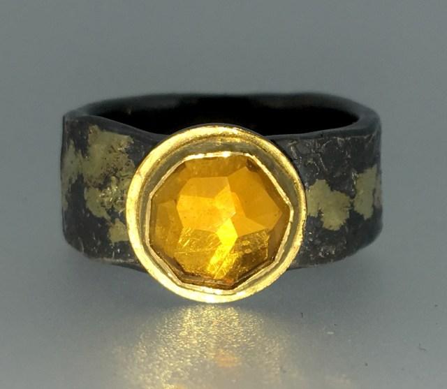 Citrine ring, 22k gold, silver, 14k gold
