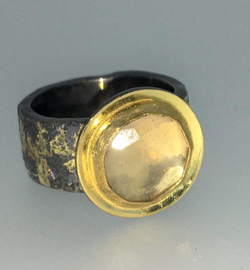 Rose quartz ring, 22k gold, silver, 14k gold