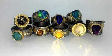 various rings, 22k gold, sterling, 14k gold, opals, citrine, lapis, quartz