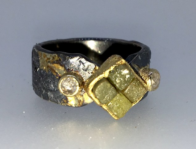 Diamond cube ring, 22k gold, natural white rose cut diamonds, silver, gold