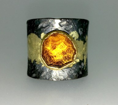 Rio Grande Citrine ring, 22k gold, silver, 14k gold