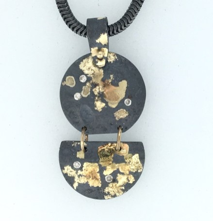 Solstice pendant, diamonds, gold, silver