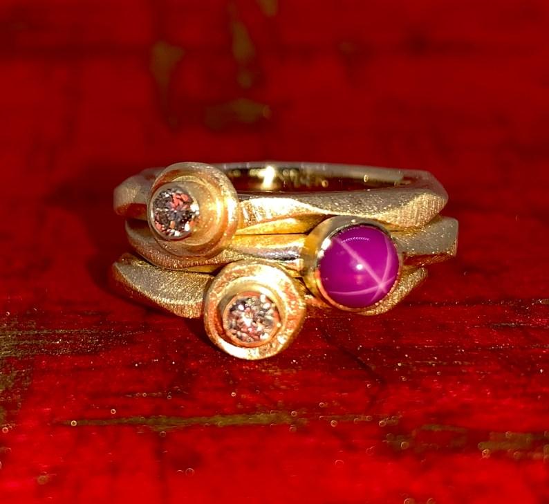 14k gold rings, diamonds, star ruby