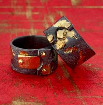 Riveted rings, .925 sterling, 14k gold.