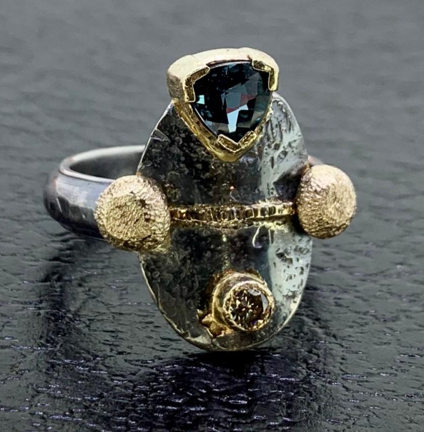 Oxidized sterling, 14k gold, London blue topaz, champagne diamond