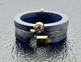 14k gold, oxidized sterling, diamond