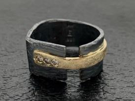 Oxidized sterling, 14k gold, diamonds