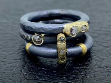 Various diamond rings, 22k & 14k gold, oxidized sterling