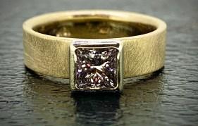 diamond Engagement Ring, .80 ct. princess cut, SI/F, 18k white gold setting, 14k brushed gold band