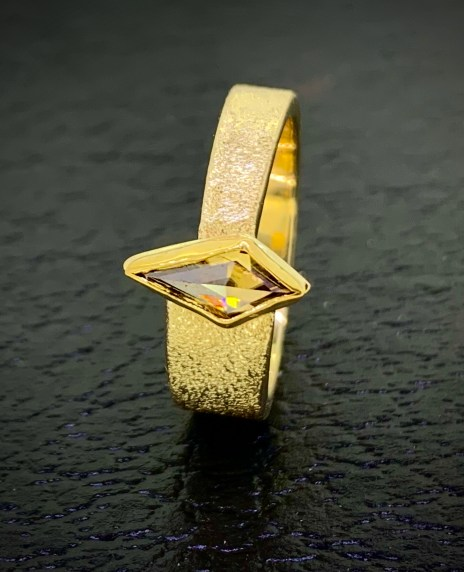 Half carat kite cut cognac diamond ring in 14k Gold.