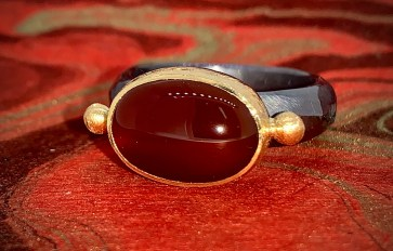 Carnelian in 22k gold and oxidized sterling