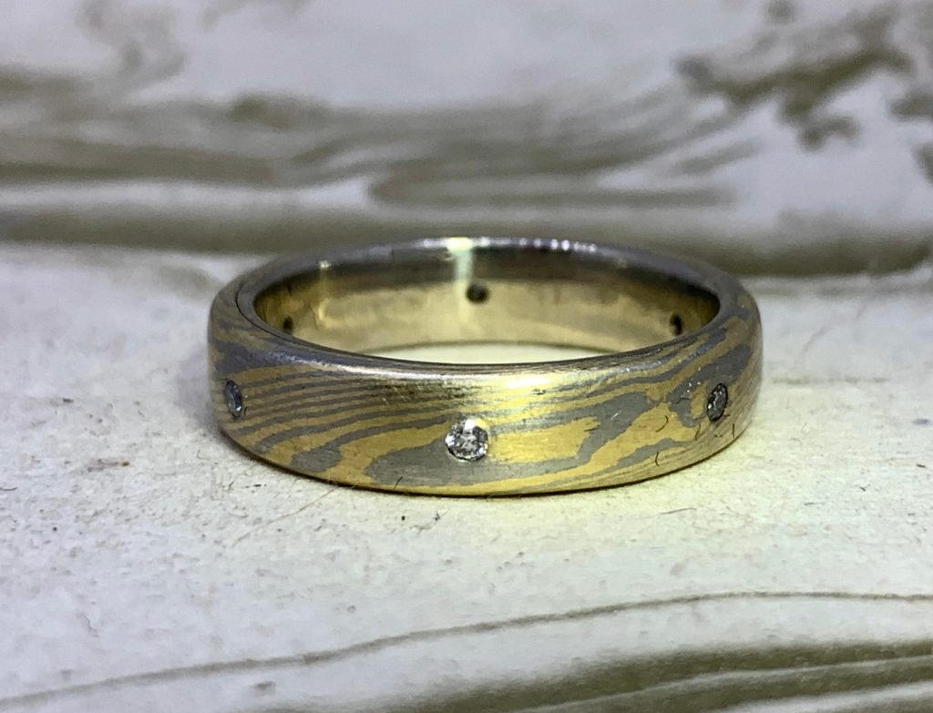 Mokume Gane Band with diamonds- 18k gold and .950 palladium