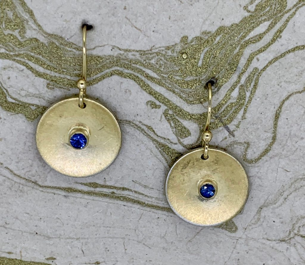 Ceylon Sapphire Earrings (18k bimetal)