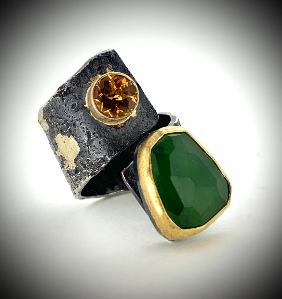 Jade and Citrine Ring
