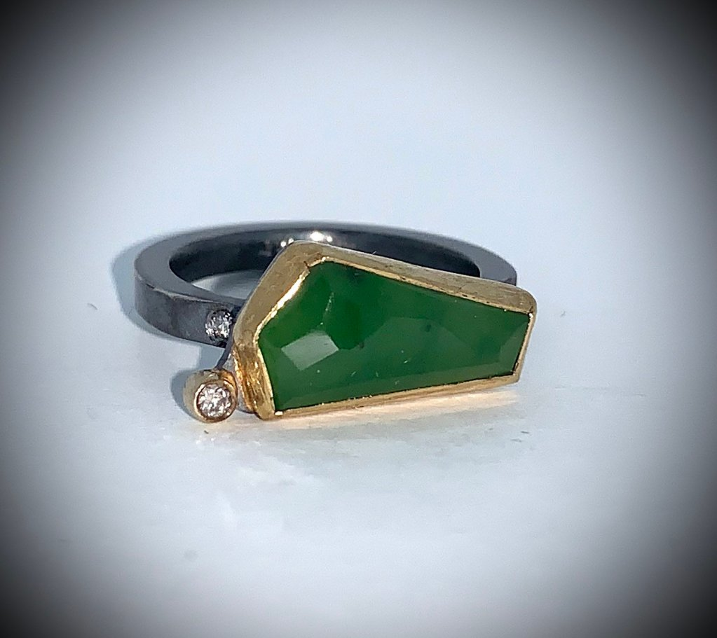Jade geometric ring