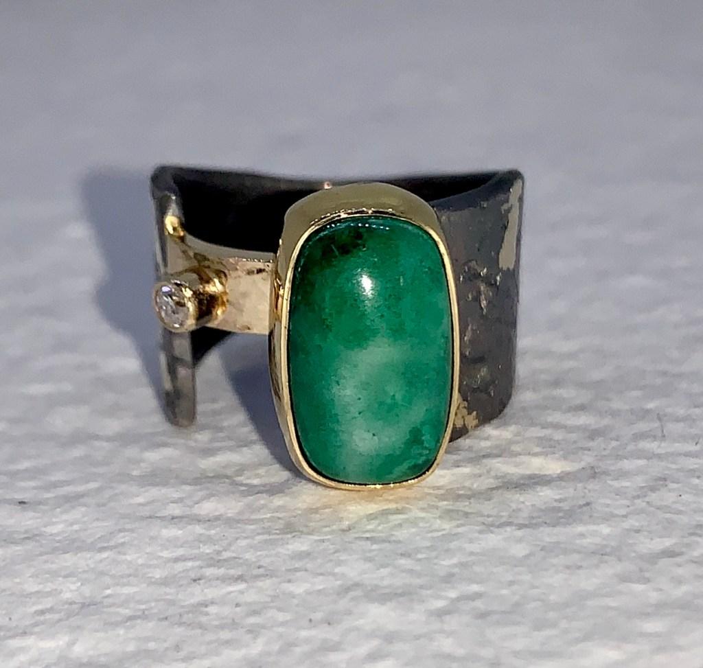 Mossy Green Arizona Gem Silica Ring