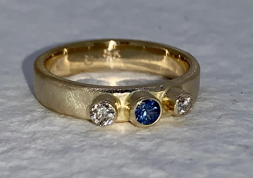 Diamonds and Blue Sapphire Ring