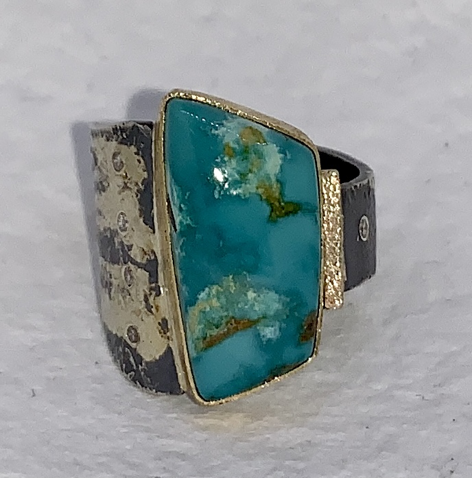 Turquoise and Diamonds Ring