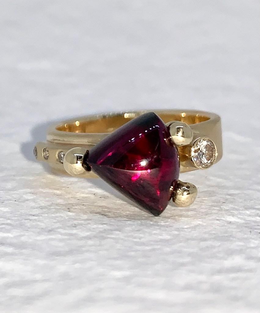 Lens cut Trillion Tourmaline Ring