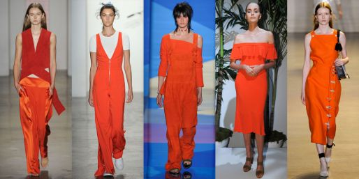 Yes, it's a pretty in-your face color, but that didn't stop Dion Lee, Adam Selman, Baja East, Veronica Beard, or Altuzarra from highlighting it in their collections. Orange, in a variety of shades, will be your go-to hue next season.