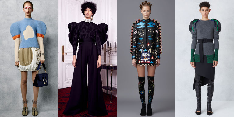 Voluminous shapes continue to reign supreme, this time focusing on the shoulders. J.W. Anderson, Ellery, Opening Ceremony, and Valentino all had standout pieces featuring this trend.  Left to right: J.W. Anderson, Ellery, Valentino, Opening Ceremony