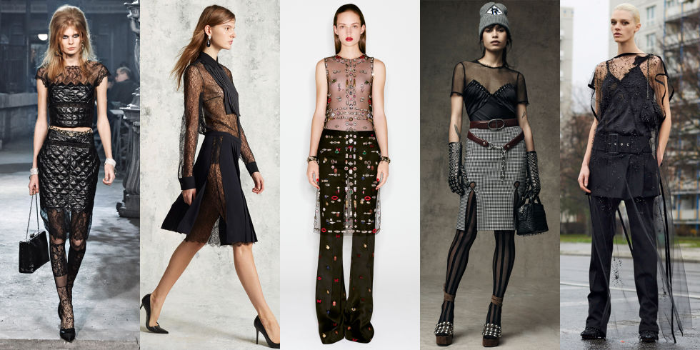 The black, sheer top will be an evening standard next season. Chanel went rockabilly in lace and wiggle skirts while Givenchy took its familiar approach on boudoir romance in floor-length lace.Left to Right: Chanel, Michael Kors, Alexander McQueen, Alexander Wang, Givenchy