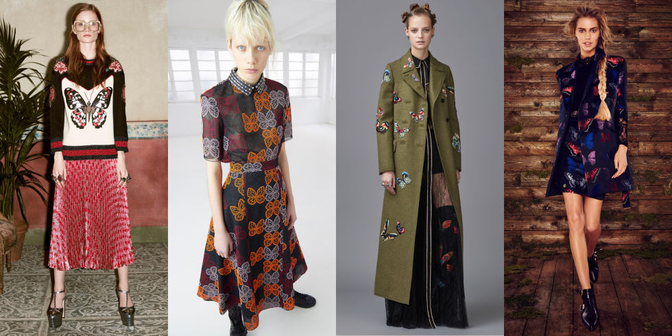 Embroidered onto outerwear at Valentino and stitched on a Gucci sweater, the butterfly is just about everywhere this autumn.  Left to Right: Gucci, Giamba, Valentino, Philipp Plein