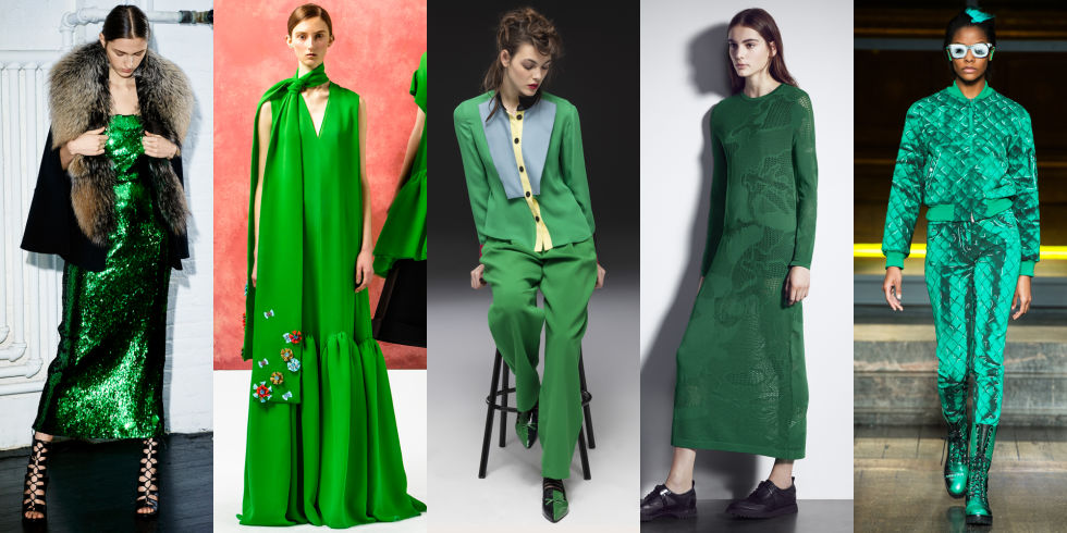 Sally LaPointe and Delpozo applied the Kermit-approved color to evening wear this season. On the opposite end of the spectrum, Jeremy Scott's Moschino went Warhol with a florescent bomber, complete with a trompe l'oeil shadows and hair paint to match.  Left to right: Sally Lapointe, Delpozo, Emporio Armani, Neil Barrett, Moschino