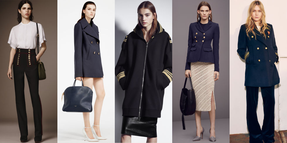 We've seen army fatigues for the past few seasons, but this season, designers are turning toward a new military branch: the Navy. Pieces to invest in: sailor pants and double-breasted coats.  Left to Right: Burberry, Nina Ricci, Neil Barrett, Altuzarra, Tommy Hilfiger