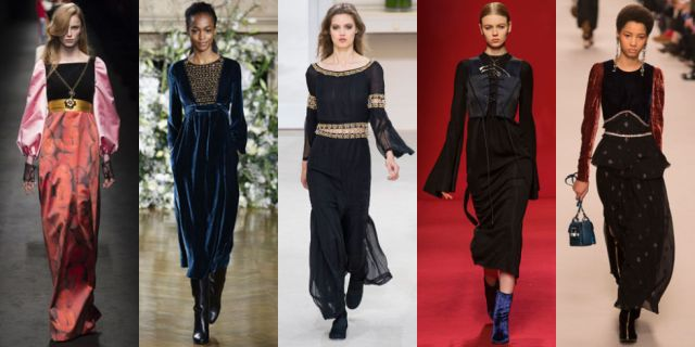 Velvet, bell sleeves, corsets and more make up a uniform fit for a modern day madrigal singer. As seen at Gucci, Vanessa Seward, Chanel, Ellery, and Lanvin