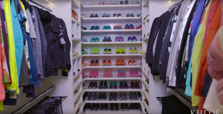 khloe kardashian fitness closet rainbow tops and shoes