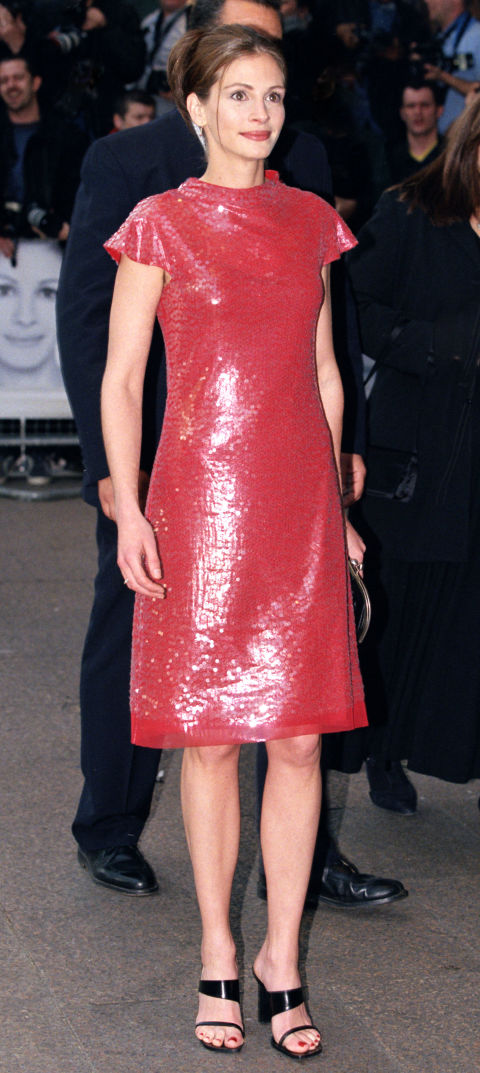 This dress was all over the papers, largely because when Julia Roberts waved to fans at the Notting Hill premiere in it, her grown-out armpit hair was snapped by the paparazzi. But the dress (combined with the shoes and updo!) is what we remember as one of our favorite late '90s style moments.