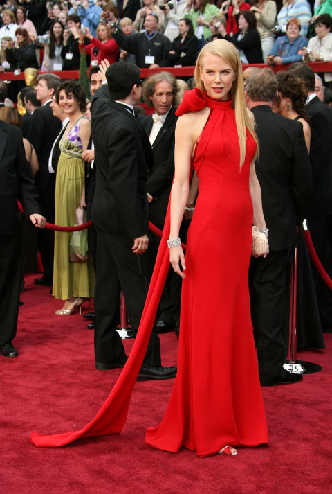 Who could forget that oversize bow at the neck of this Balenciaga number Nicole wore for the Oscars?