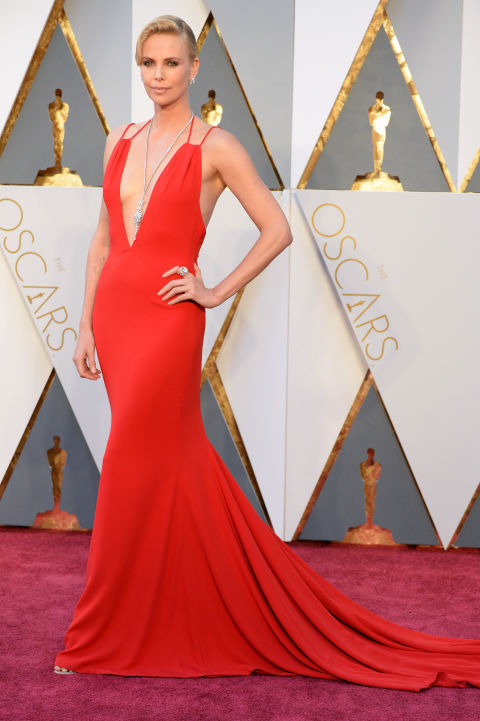 Charlize Theron Plunging Red Backless Mermaid 2016 Oscars Evening Prom Dress