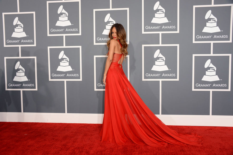 Rihanna Grammys Red Carpet Criss-cross A-line Celebrity Evening Prom Dress