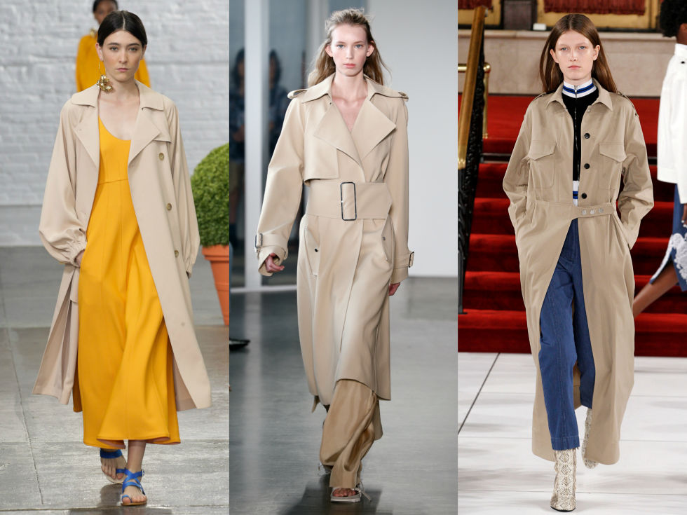 Slouchyfabrics, bigbuckles, and extended silhouettes take your run of the mill trench coat from meh to major. Left to Right: Tibi, Dion Lee, Creatures of the Wind