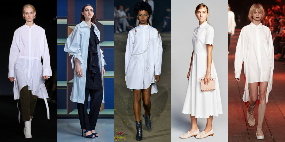 Interesting waistlines and unexpected hemlines add oomph to simple white shirt dresses. Pick up a bunch of these to add to your workwear rotation. Left to Right: Rag & Bone, Lie Sangbong, 3.1 Phillip Lim, Banana Republic, DKNY