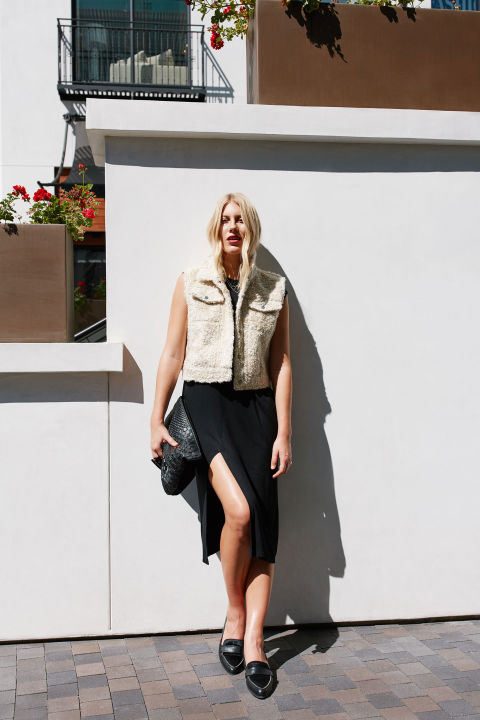 Pop on a contrasting piece of outerwear—like this nubby cropped vest—to break up the single continuous line. The layer defines your torso while highlighting mile-long legs. Cinq à Sept Cora Shearling Fur-Patch Vest, $1,295, neimanmarcus.com; Kate Spade New York Corina Pointy Toe Loafers, $250, nordstrom.com; Loewe Large Logo Embossed Calfskin Leather Pouch, $650, nordstrom.com; H&M 2-Pack Necklaces, $7.99, hm.com