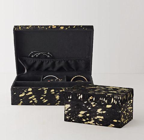 Metallic Hide Jewelry Box, $39; rhteen.com