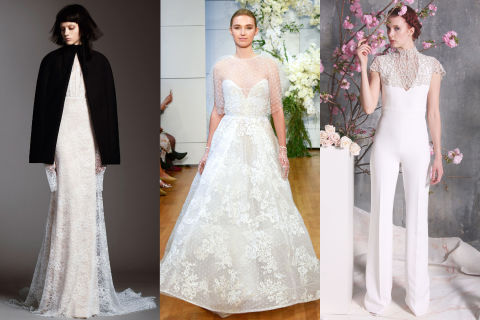 For the bride who's always cold, you might as well make your outerwear part of your wedding look. Opt for a crystal-encrusted option seen at Christian Siriano, or invest in a cape like the one shown at Vera Wang so you can wear it again. Left to right: Vera Wang, Monique Lhuillier, Christian Siriano