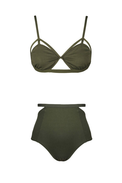 Lonely Edie Bikini Olive, $79; lonelylabel.com Lonely Edie High Waist Brief Olive, $79; lonelylabel.com