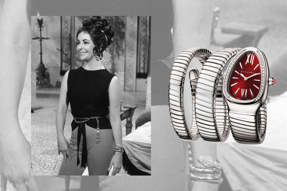 The use ofsnakes in jewelry dates back to ancient timesand has roots inalmost every culture and religion on earth. It also serves ascreative inspiration for Italian jeweler Bulgari (the brand has been incorporating serpents into their designs since the 1940s). The coiled Serpenti watch, gifted to and wornby Elizabeth Taylor on the set of Cleopatra in 1962,hasn't let go of its sartorial hold since Taylor—her personal life in the spotlight due to the beginnings of a rampant affair with Richard Burton—made it famous.Bulgari Steel Serpenti Tubogas, $11,100; bulgari.com