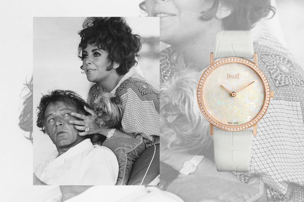 Introduced in 1957, the Piaget Altiplano is best known for its precise, ultra-thin movement. Glamorous stone dials are also a hallmark of the brand, with a new opal and diamond Altiplano style similar to the one worn by the mega-star while vacationing with Richard Burton in Sardinia in August 1967. (That Taylor, a renowned jewelry lover, should make the list twice ought to come as no surprise).Piaget 18-carat Altiplano Hard Stone Natural Opal Dial 34 MM, $48,000; paiget.com